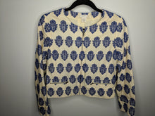 Load image into Gallery viewer, J.Crew Crop Jacket Ivory Blue Embroidery Boho sz 8