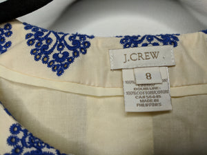 J.Crew Crop Jacket Ivory Blue Embroidery Boho sz 8