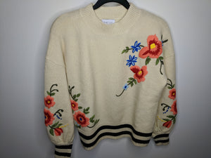 $148 Anthropologie Harlyn Gardenstripe Floral Embroidered Pullover Sweater M Wool Blend