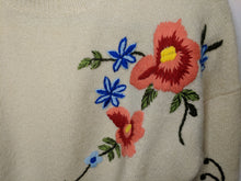 Load image into Gallery viewer, $148 Anthropologie Harlyn Gardenstripe Floral Embroidered Pullover Sweater M Wool Blend
