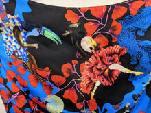 Load image into Gallery viewer, $1500 Mary Katrantzou Print Sleeveless Peplum Top Toucan Flamingo Floral Blue Red Black 2 Made in UK