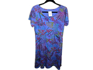 NWT $59 Fresh Produce Bright Botanical Sadie Dress Peri Blue Floral Made in US sz M