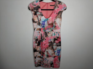 Black Halo Pink Green Brown Abstract Print Sheath Dress USA Made sz 4