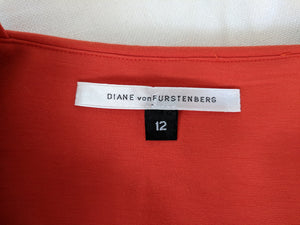 Diane von Furstenberg DVF Tank Dress Orange A Line Empire Bow Waist US Made 12
