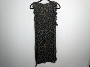 NWT $298 Zadig & Voltaire Rebelle Leo Dress Green Brown Black Leopard S
