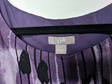 Load image into Gallery viewer, J Jill Black Purple Dress Sleeveless Lined Knee Length Elastic Empire Waist L