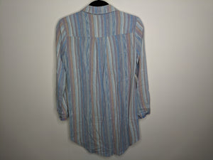 Cloth & Stone Anthro Shirt Dress Tunic Fray Edge Blue Red Striped Linen Blend XXS