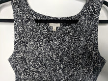 Load image into Gallery viewer, Talbots Petites Dress Black White Paisley Print Faux Wrap Empire Sleeveless SP