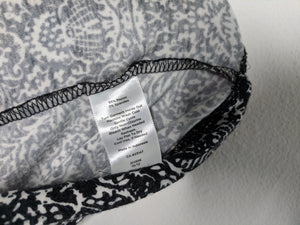 Talbots Petites Dress Black White Paisley Print Faux Wrap Empire Sleeveless SP