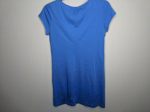 Lilly Pulizter Bay Blue Brewster T Shirt Dress Contrast Trim Pima Cotton $98 Retail S