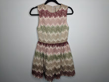 Load image into Gallery viewer, NWT $595 Alice + Olivia Joyce Lace Party Dress Fit & Flare Beige Pink Green Red 2