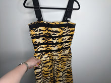 Load image into Gallery viewer, D&G Dolce Gabbana Tiger Animal Print Dress Corset Bubble Skirt Fit Flare 44 Black Yellow Brown