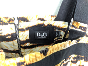 D&G Dolce Gabbana Tiger Animal Print Dress Corset Bubble Skirt Fit Flare 44 Black Yellow Brown