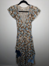 Load image into Gallery viewer, Marc Jacobs Runway Collection Floral Maxi Dress Open Back Blue Brown Tulle Layered Belted 4