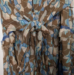 Marc Jacobs Runway Collection Floral Maxi Dress Open Back Blue Brown Tulle Layered Belted 4