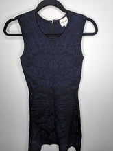 Load image into Gallery viewer, Reiss Franky Dress Brocade Bodycon Cocktail Black On Blue Fit & Flare 4
