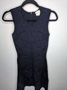 Reiss Franky Dress Brocade Bodycon Cocktail Black On Blue Fit & Flare 4