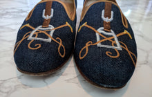 Load image into Gallery viewer, $500 Stubbs & Wootton Denim Loafers Equestrian Theme sz 9.5