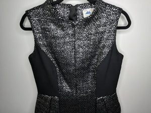 $795 MILLY Runway Silver Laminated Tweed Cleo Funnel Neck Dress Black Silver US Made 8