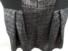 Load image into Gallery viewer, $795 MILLY Runway Silver Laminated Tweed Cleo Funnel Neck Dress Black Silver US Made 8