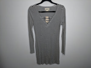 NWT $90 Denim & Supply Ralph Lauren Black White Stripe Tunic Dress sz L