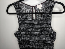 Load image into Gallery viewer, Anthropologie Postmark 9-h15 Stcl Black White Ruched Mesh Dress sz M