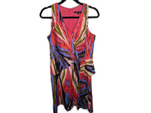 Load image into Gallery viewer, $398 Nanette Lepore Pink Red Blue Brown Silk Dress Made in US sz 6
