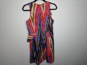 $398 Nanette Lepore Pink Red Blue Brown Silk Dress Made in US sz 6