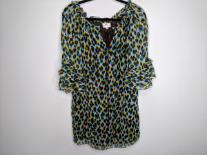 Milly Silk Shift Dress Leopard Print Made in US sz 4