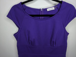 Calvin Klein Sheath Dress Purple Ponte Career Work Business Bodycon sz 8