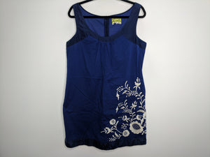 Anthropologie Floreat Blue Dress White Floral Embroidery sz 12