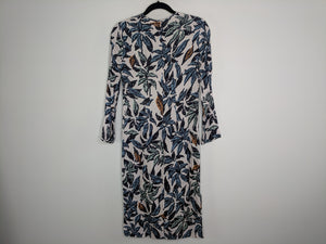 New $650 EDUN Beige Leaf Print Sheath Dress sz 2