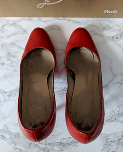 $695 Christian Louboutin Simple Pump 100 Patent Calf Red sz 39.5