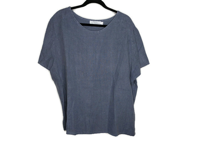 Willow Stonewash Blue Linen Blouse sz L