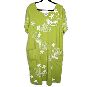 $70 M.Mac Treasure of the Tropics Green Floral Print Dress 2X