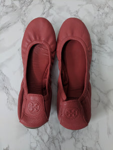 Tory Burch $220 Eddie Ballet Flats Pink Leather sz 9.5