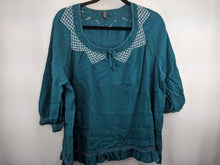Load image into Gallery viewer, Wrap Embroidered Peasant Top sz EU 50