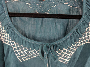 Wrap Embroidered Peasant Top sz EU 50