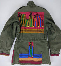 Load image into Gallery viewer, Vintage Army Jacket Reclaimed w/ Vintage Hermes Sangles Silk Scarf sz M