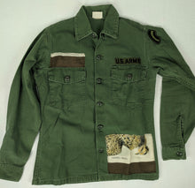 Load image into Gallery viewer, Vintage Army Jacket Reclaimed w/ Vintage Hermes Belle Chasse Silk Scarf sz M/L