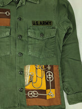 Load image into Gallery viewer, Vintage Army Jacket Reclaimed w/ Vintage Hermes Cliquetis Silk Scarf sz M/L