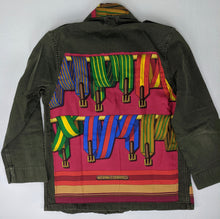 Load image into Gallery viewer, Vintage Army Jacket Reclaimed w/ Vintage Hermes Sangles Silk Scarf Details sz L