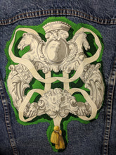 Load image into Gallery viewer, Vintage Levi's Denim Jacket Reclaimed w/ Vintage Hermes Ferronnerie Silk Scarf sz M
