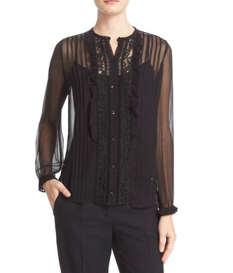 Rebecca Taylor Womens Blouse sz 6 Black Lace Silk Pintucked Sheer NWT $375