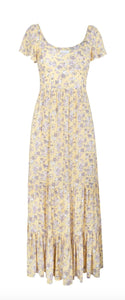 Womens AUGUSTE Dress US 6 Olsen Bella Maxi in Lemon Floral Tiered Skirt NWT $185