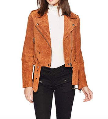 Blank NYC Womens Motorcycle Jacket sz S Cognac Brown Suede Leather NWT $198