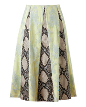 Load image into Gallery viewer, Women ERDEM Skirt sz 6 M Jemima Python Print Satin Lace Crepe Silk Made UK NWT
