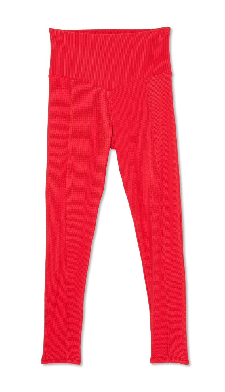Onzie Sweetheart Midi Leggings in Red Rib S/M Yoga Fitness Made in USA NWT $72