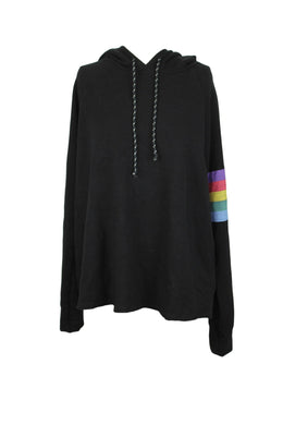 SUNDRY Sweatshirt Rainbow Stripes Hoodie in Black sz 2 (M) NWT $174 Made in USA