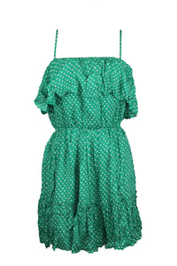 BB Dakota Dot Off The Press Dress sz L in Kelly Green White Polka Dot NWT $88